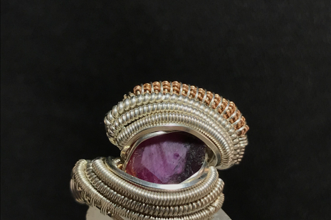 Ruby Sterling Silver Ring w/ Rose Gold Size 6.25