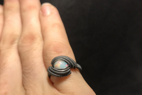 Oxidized Silver Multicolored Opal Ring SIZE 7