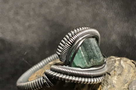 Green Tourmaline Oxidized Silver Ring SIZE 7