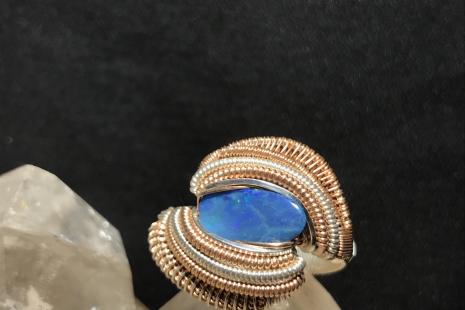 Australian Opal Silver/Rose Gold Ring SIZE 8.5