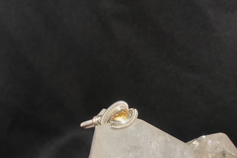 "Citrine Facet Silver ""mini"" Ring SIZE 7"
