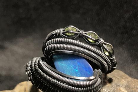 "Australian Opal ""Trinity Series"" Silver Ring SIZE 7.5"