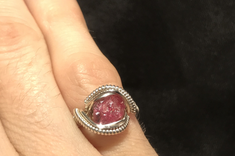 "Pink Tourmaline Silver ""mini"" Ring SIZE 7"