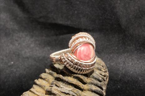 Rhodochrosite Sterling Silver Ring SIZE 7.5