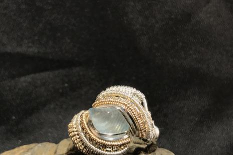 Aquamarine Silver w/ 14kt Gold Ring SIZE 8