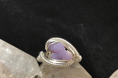 """Grape Agate Silver """"mini"""" Ring SIZE 8.5"""
