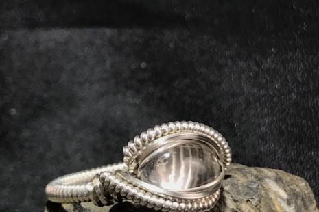 "Aquamarine Silver ""mini"" Ring SIZE 6.5"