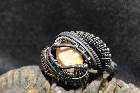 Woolly Mammoth Ivory Silver Ring SIZE 7