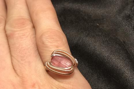 Pink Tourmaline Rose Gold Ring Size 6