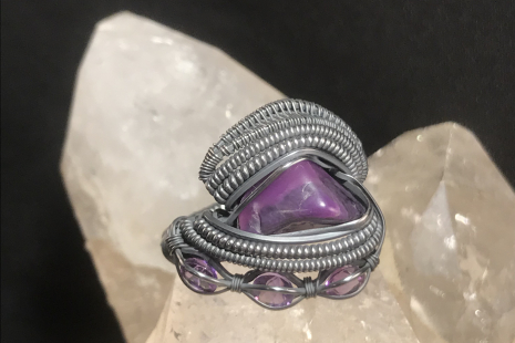 """Sugilite """"Trinity"""" Series with Amethyst Accents Silver Ring Size 7"""