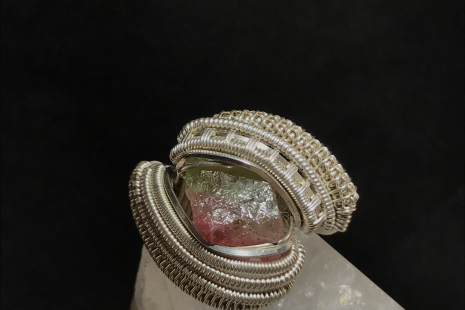 Watermelon Tourmaline Sterling Silver Ring Size 11