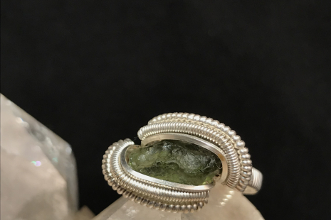 "Moldavite Silver ""mini"" Ring SIZE 5.5"