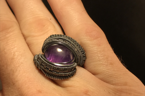 Amethyst Oxidized Sterling Silver Ring SIZE 9.5