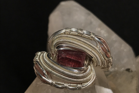 Triple Pink Tourmaline Silver Ring SIZE 7