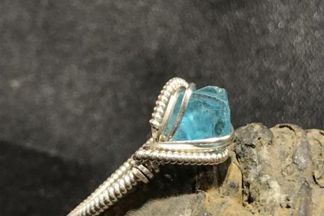 """Blue Apatite Silver """"mini"""" Ring SIZE 5-5.5"""