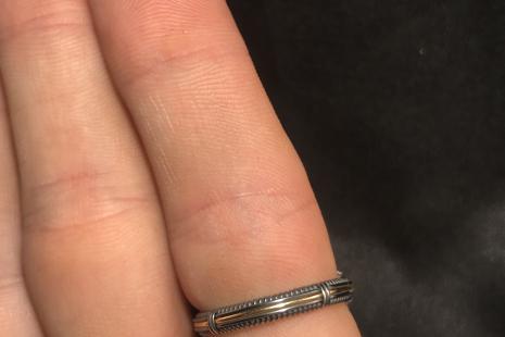 Blue Apatite Oxidized Silver Ring SIZE 9