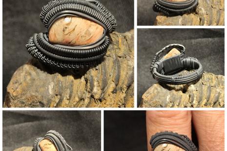 Dinosaur Bone Oxidized Silver Ring SIZE 9.5