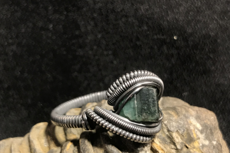 "Green Tourmaline Oxidized ""mini"" Ring SIZE"