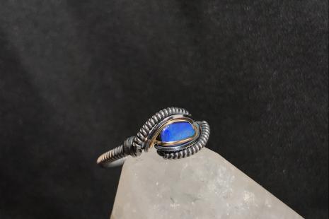 Oxidized Australian Opal Ring SIZE 8