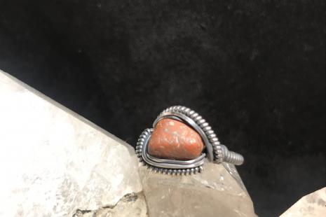 "Dinosaur Bone Oxidized Silver ""mini"" Ring SIZE 7.5"