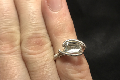 "Aquamarine Silver ""mini"" Ring SIZE 5.5"