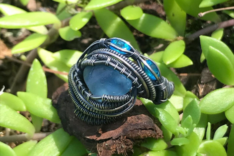 """Azul"" London Topaz Silver Ring Size 7.5"