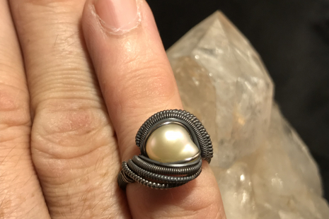 Freshwater Pearl Oxidized Silver Ring SIZE 7