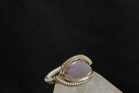 "Grape Agate Sterling Silver ""mini"" Ring SIZE 6"