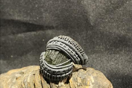 Moldavite Oxidized Silver Ring SIZE 8