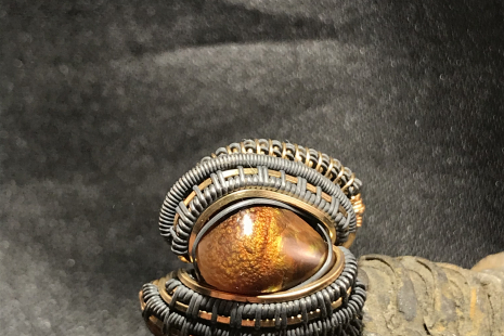 Fire Agate Oxidized Silver Ring SIZE 6.5