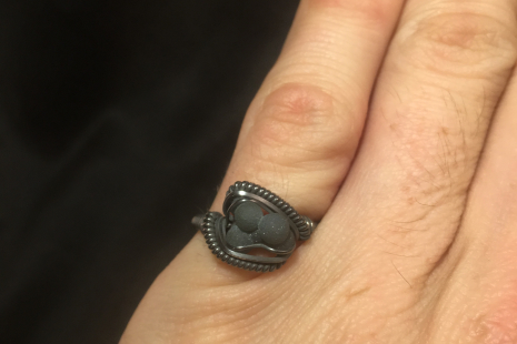 "Grape Agate Cluster Oxidized ""mini"" Ring SIZE 6"