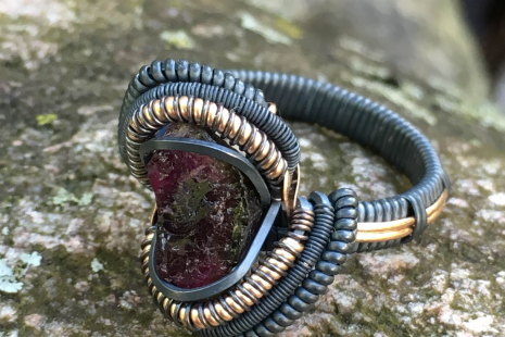 Watermelon Tourmaline Oxidized Silver Ring w/ Rose Gold Accents Size 10