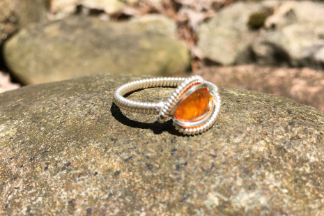"Amber Silver ""Mini"" Ring Size 10"