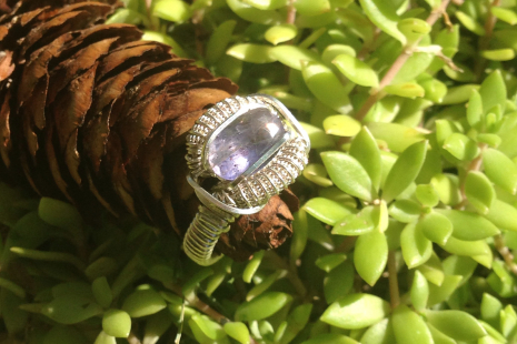 Faceted Iolite Ring Handmade Silver Ring SIZE 7.5