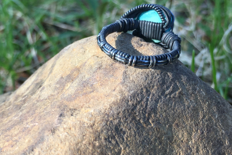 Natural Turquoise Oxidized Silver Ring SIZE 9