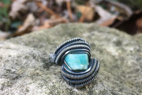 Raw Amazonite Oxidized Silver Ring SIZE 6.5