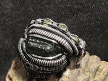 "Moldavite w/ Peridot ""Trinity"" Series Silver Ring"