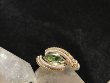 "Peridot Silver w/ 14kt Gold ""Mini"" Ring"