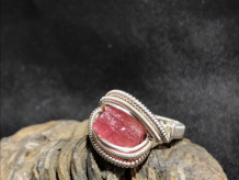 Pink Tourmaline Silver Ring SIZE 6