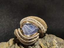 Tanzanite Sterling Silver w/ 14kt Gold Ring SIZE 7