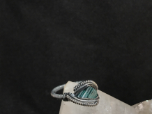 "Green Tourmaline Silver ""mini"" Ring ""SIZE 6"