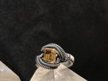 Citrine Facet Oxidized Silver Ring Size 6.5-7