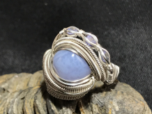 "Blue Lace Agate & Tanzanite ""Trinity Series"" Silver Ring SIZE 6.5"