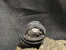 Meteorite Oxidized Silver Ring SIZE 10