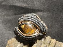Pietersite Oxidized Silver Ring w/14kt Gold SIZE 8