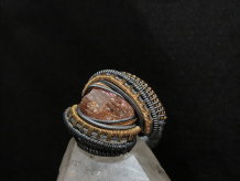 Imperial Topaz Oxidized Sterling Silver w/14kt Gold Ring SIZE 7.5-8