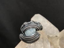 "Aquamarine ""Trinity Series"" Silver Ring SIZE 6.5"