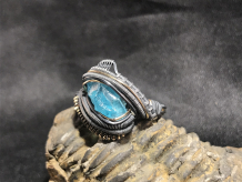 Blue Apatite Oxidized Silver Ring SIZE 9