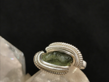"Moldavite Silver ""mini"" Ring SIZE 5.5"