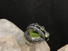"Peridot ""Trinity Series"" Oxidized Silver Ring SIZE 8.5-9"